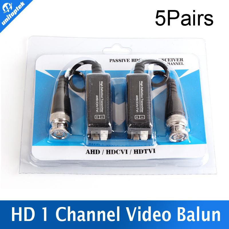 5Pairs High Definition 720P/1080P AHD/HDCVI/HDTVI BNC to UTP Cat5/5e/6 Video Balun Passive Transceivers Adapter Transmitter 300m(China (Mainland))