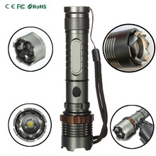 Professinal Self-defense 5 Modes XML-T6 Zoomable LED Flashlight Lotus Attack Head Waterproof Torch Light for Outdoor(China (Mainland))