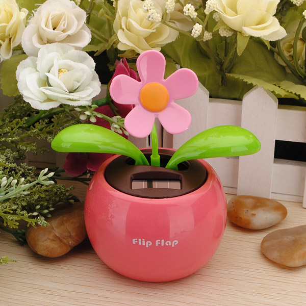 New Arrival Flip Flap Moving Dancing Solar Power Flower Flowerpot Swing Solar Car Toy Gift Home Decorating Plants(China (Mainland))