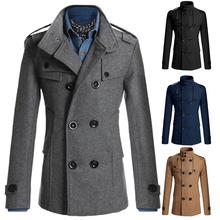 2015 Men's Woolen Coats Business Casual Mens Jacket Manteau Homme Winter Men Jacket Veste Homme Peacoat For Man CL4688D(China (Mainland))