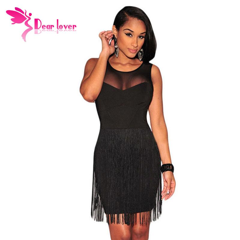 2016 Women Summer Dresses to Party Black Mesh Accent Fringe Mini Tank Bodycon Dress Vestidos Verao Little Black Dresses LC21986(China (Mainland))
