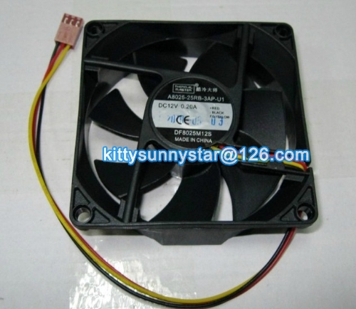New Original Cooler Master 80x80x25mm A8025-25RB-3AP-U1 DF8025M12S 12V 0.2A 3Wire Cooling Fan(China (Mainland))