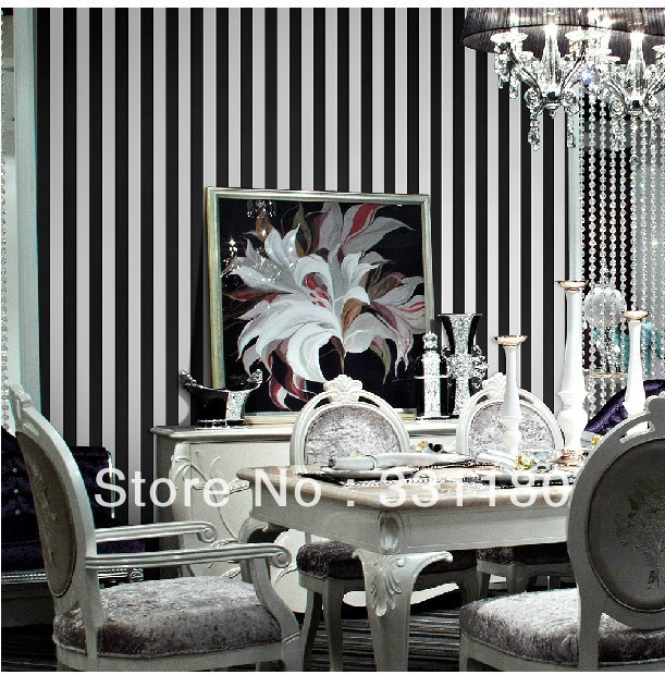 Black and white vertical stripes wallpaper roll paper wall for Black and white wallpaper for bedroom