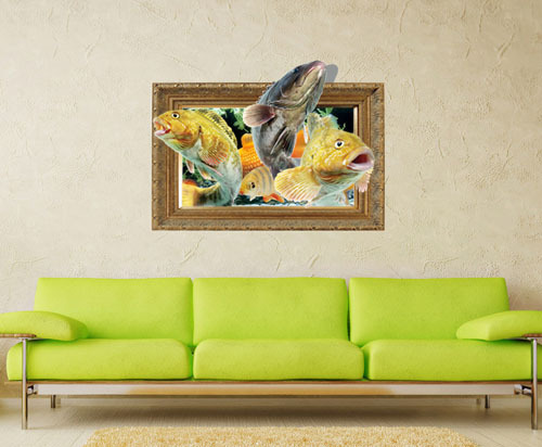 Fish 3d Printer Removable Wallpaper Wall Mural Sticker