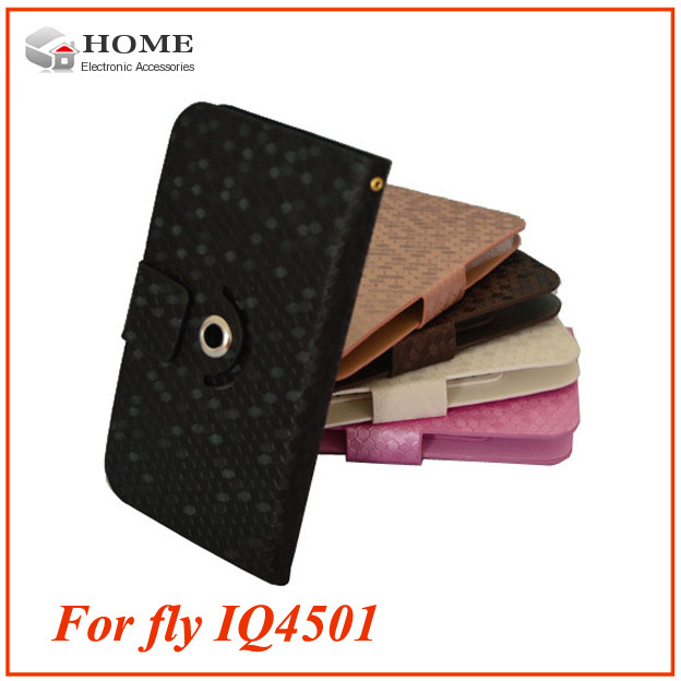 "Case for FLY IQ4501 Quad EVO Energie 4 pouch PU leather cover 360 degree rotate high quality flip case for FLY IQ4501 screen 5""(China (Mainland))"
