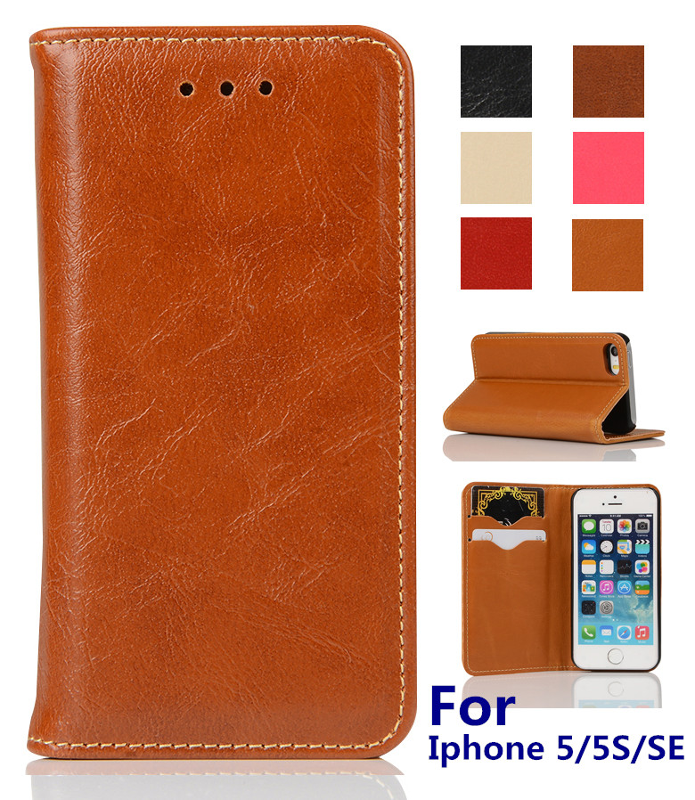 2016 New Deluxe Oil Wax PU Leather Flip Wallet Stand Case Cover for iPhone 5 5S 5G Cell Phone Pouch Bags with Card Holder(China (Mainland))