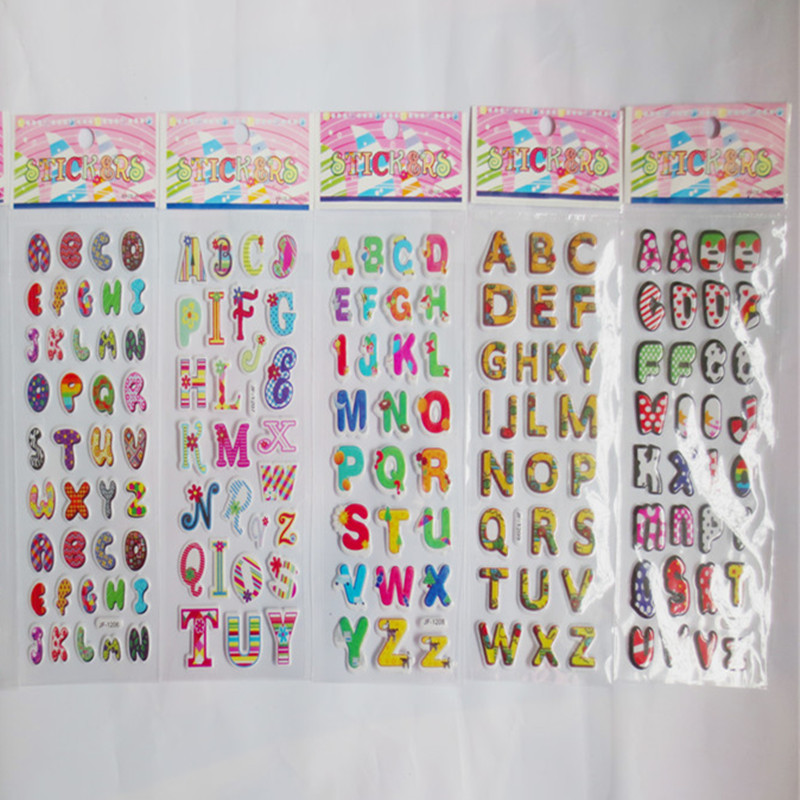 wholesale 20pcs mixed color puffy letters cardstock stickers alphabet sticker for scrapbooking chipboard phone letter