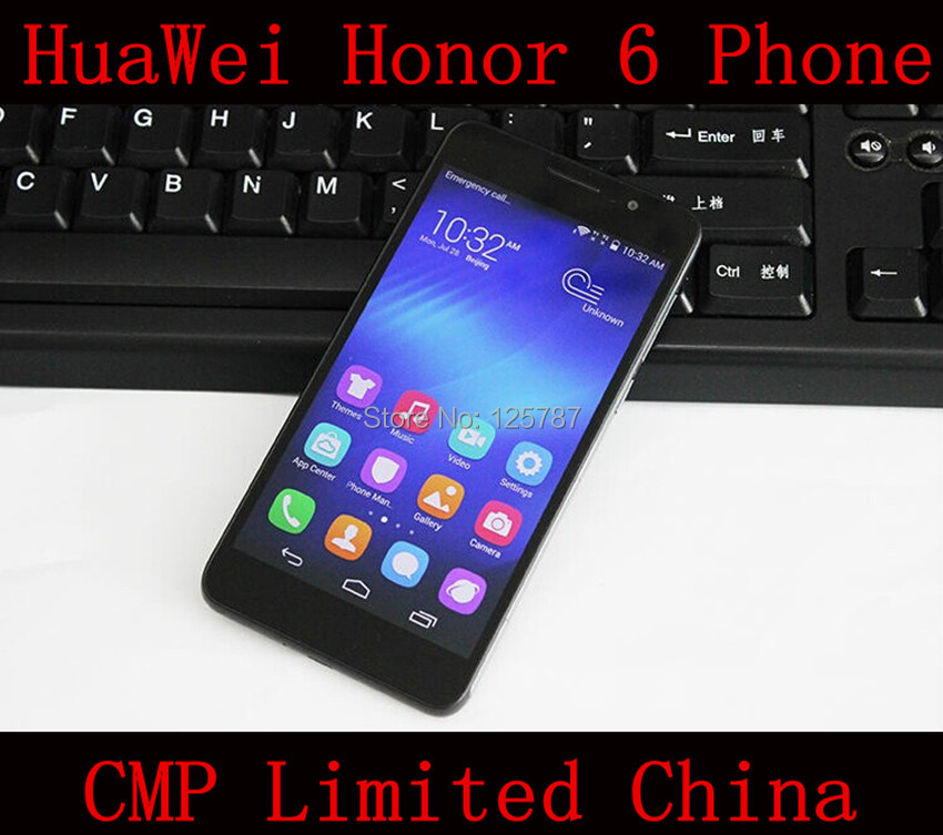 DHL Fast Delivery HuaWei Honor 6 4G LTE Cell Phone Kirin 920 Octa Core Android 4.4 OS 5 Inch FHD 1920X1080 3GB/32GB ROM 13.0MP(China (Mainland))