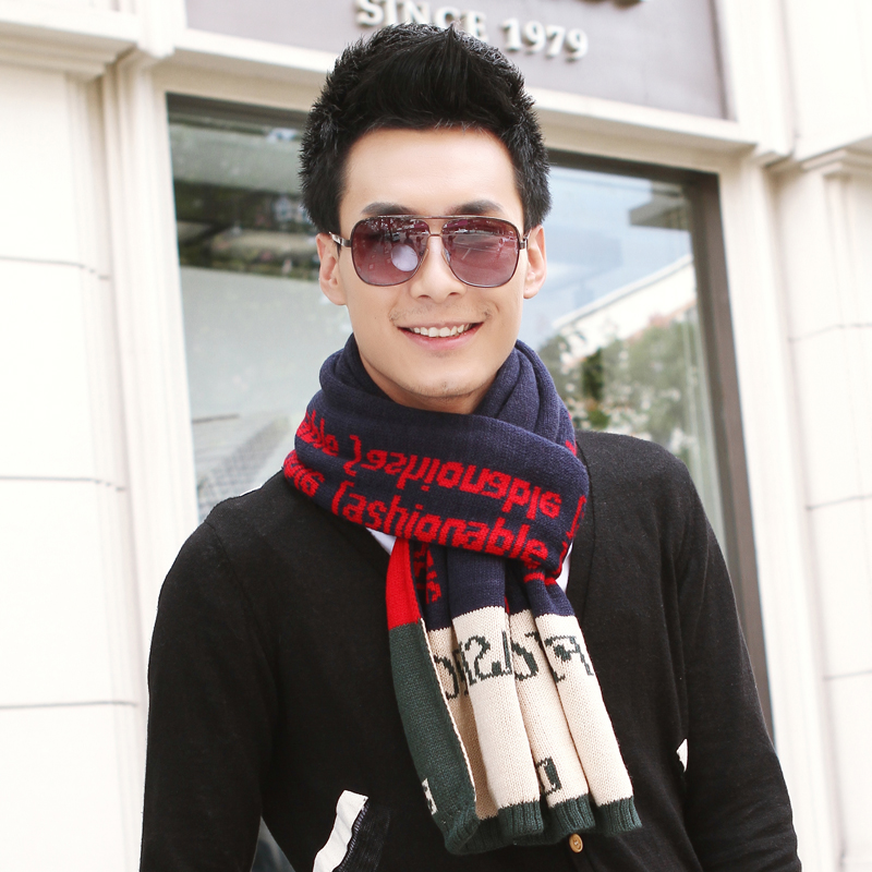 Male paragraph winter knitting man business scarf autumn and winter fashion thickening thermal knitted muffler scarves(China (Mainland))