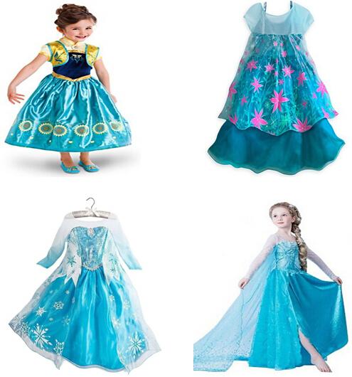 Summer Baby Girls Dress 2015 Princess Anna Elsa Dress Movie Cosplay Girl Party Dress Vestidos Kids Clothes Costume For Children(China (Mainland))