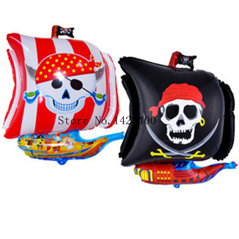 Free shipping new cartoon pirate ship pattern aluminum balloons birthday party balloons wholesale children's toys(China (Mainland))