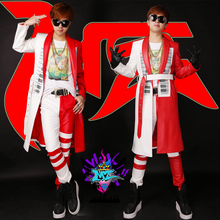 Buy 2016 New Nightclubs Male Singer Long Leather Jacket Bar Show DJ GD Red White Piano Hot Drilling Trench Jackets Coats Costumes for $58.00 in AliExpress store