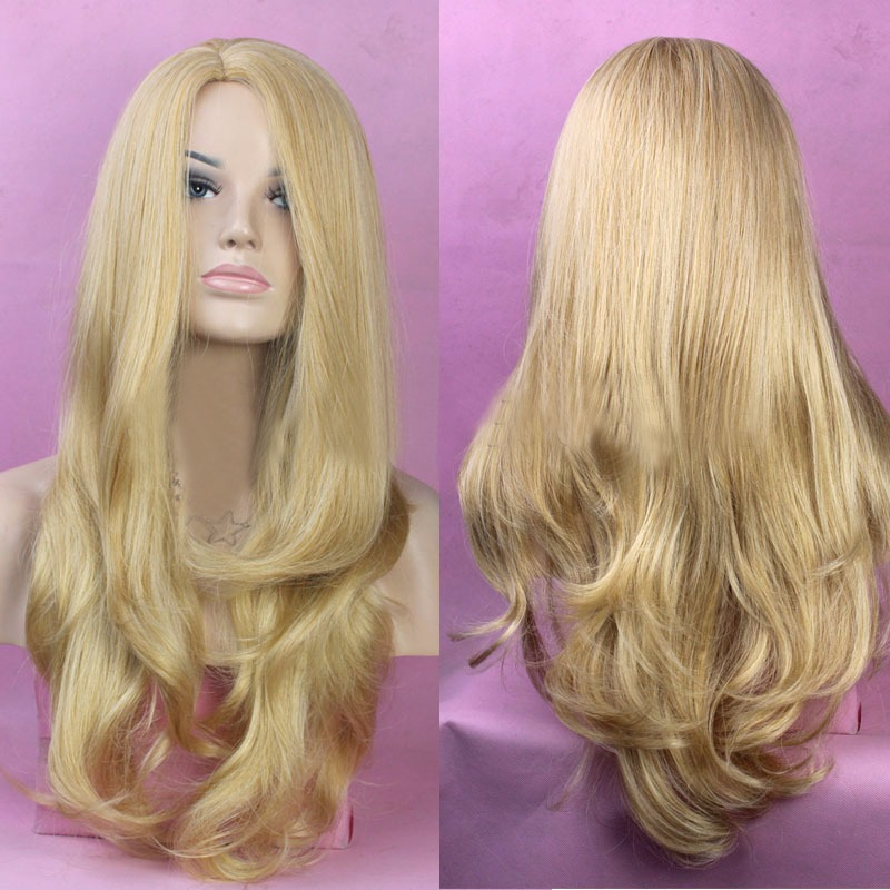 Sexy Glamour European Style Kinky Curly Wavy Long Hair Costume Cosplay Largo Bang Gold Wig Afro Natural Peluca Rizado Cabello<br><br>Aliexpress