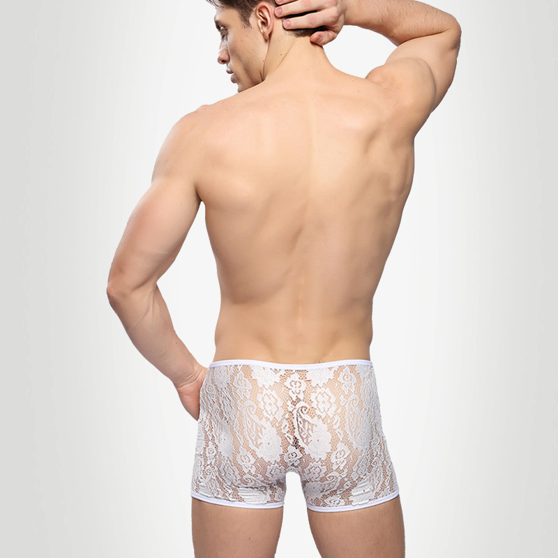 Sexy boxers underwear men lace see through transparent high quality shorts cuecas ropa interior hombre calzoncillos