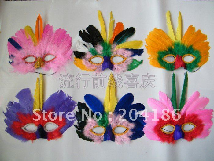 Free shipping! Columbus day Halloween carnival parade mask,dance party mask,Feather mask,15 colors,50pcs(China (Mainland))