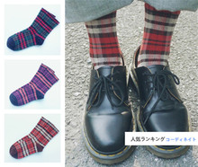 35-40 1lot=3paris COLLECTION three new Harajuku mori girls lattice forest grid check grating chequer treillage cell Cotton Socks