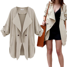 2016 Autumn Spring Women Slim Long Trench Coat Solid Color Cotton Blend Button Double Pocket Windbreaker Outwear S-4XL