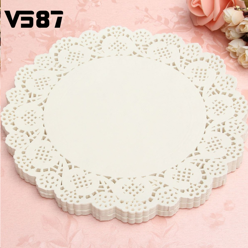 120Pcs White Round Lace Paper Doilies Plates Mats Coasters Placemats Wedding Events Party Table Gift Bag Decorative Accessories(China (Mainland))