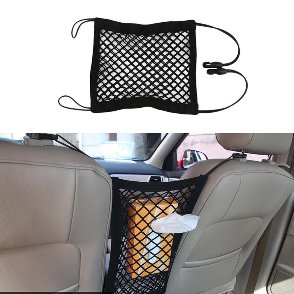Konnwei Universal Organizer Storage Bag Net Mesh Bag Luggage Holder for Cellphone Gadget Double Layer Elastic Trunk Car Seat