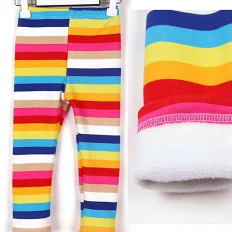 High Quality Girl Baby Winter Leggins Cotton Thicken Kids Girls Long Pants 1-6 Age Children Trousers Rainbow Color(China (Mainland))