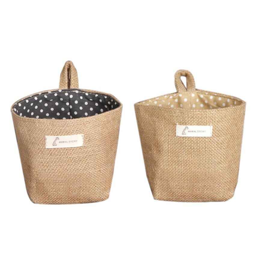 New Qualified Polka Dot Small Storage Sack Cloth Hanging Non Woven Storage Basket dig637(China (Mainland))