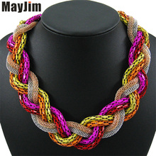 Buy Statement Necklace Vintage Fashion Punk Big Simple Metal Chain braid Twist Chain Necklaces & Pendants Women Jewelry Accessories for $4.22 in AliExpress store