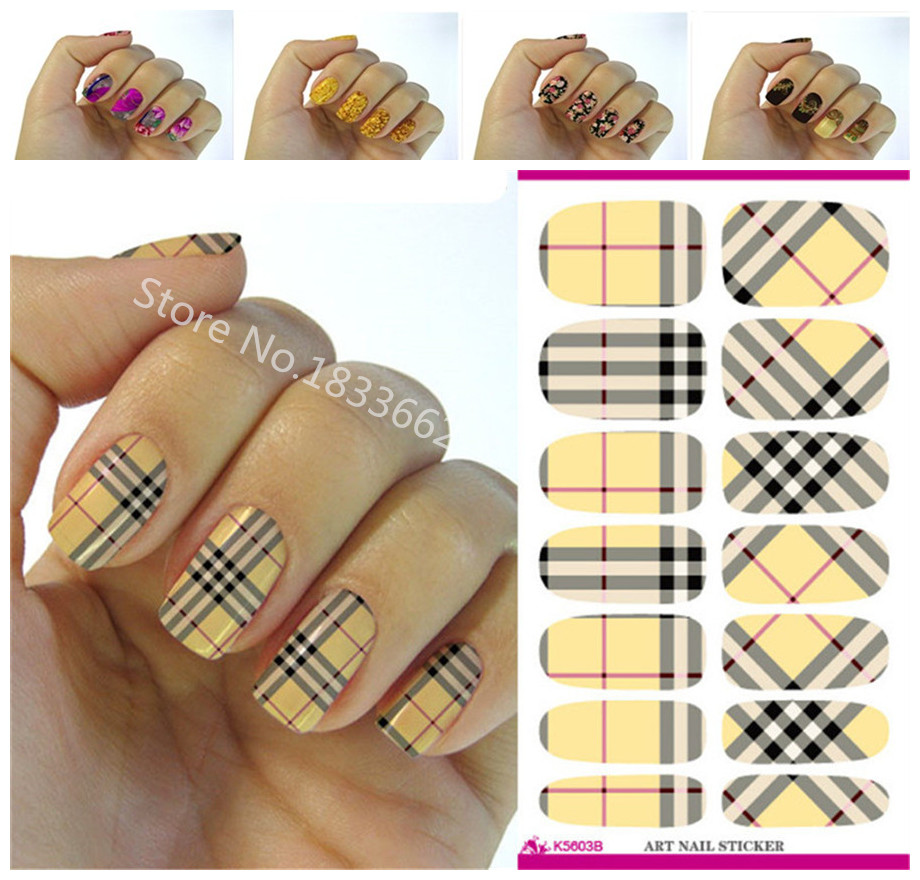 Fashionable font b plaid b font patterns decorative nail decal art nail stickers decoration simple transfer