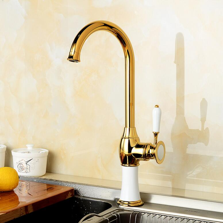 Фотография 2016 High Quality new arrival vintage golden brass sink faucet for kitchen & bathroom Kitchen faucet with ceramic handle