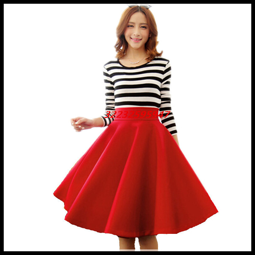 In The Autumn And Winter Grown Place Umbrella Skirt Retro Waisted Body Skirt New Europe And The Code Word Pleated(China (Mainland))