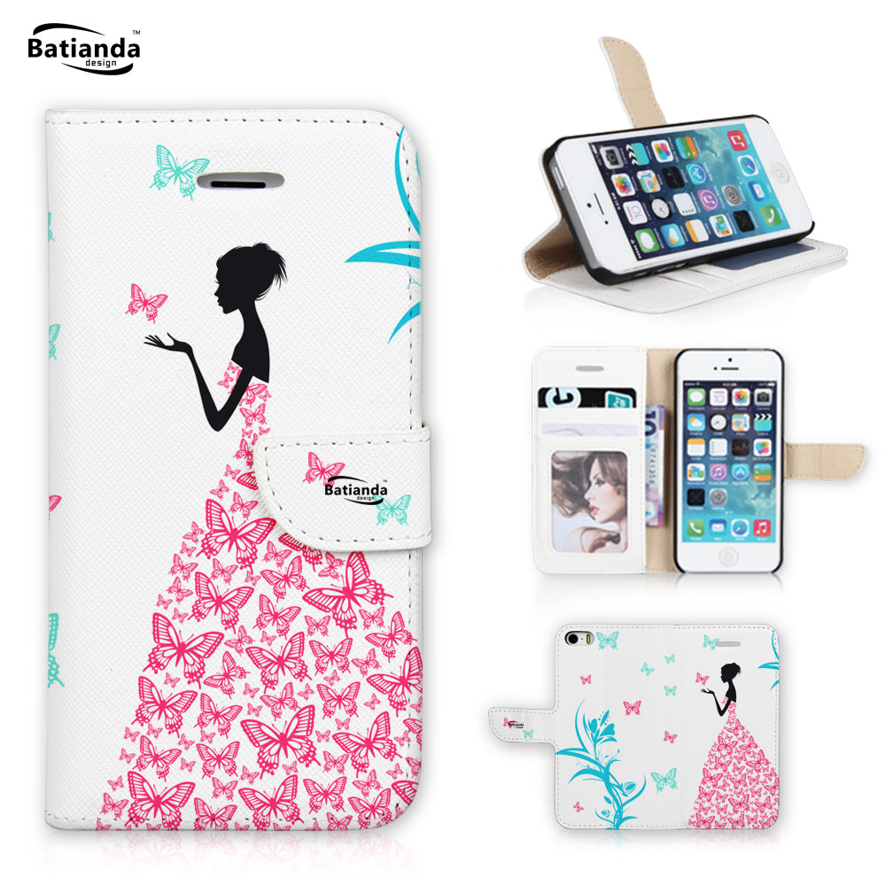 Luxury Flip Wallet PU Leather Wallet Case For Apple Ipod Touch 5 With Card Holder Cover 2016 Girl & Butterfly Pattern(China (Mainland))