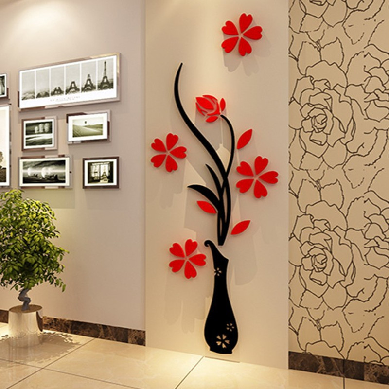3d Plum Vase Wall Stickers Home Decor Creative Wall Decals