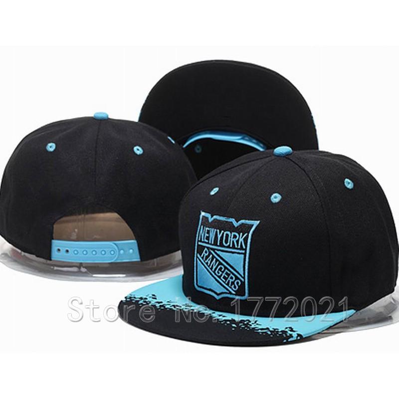 Men's Hockey Team New York Rangers Snapback Hats Black Top Blue NY Embroidered Logo Adjustable Flat Caps(China (Mainland))