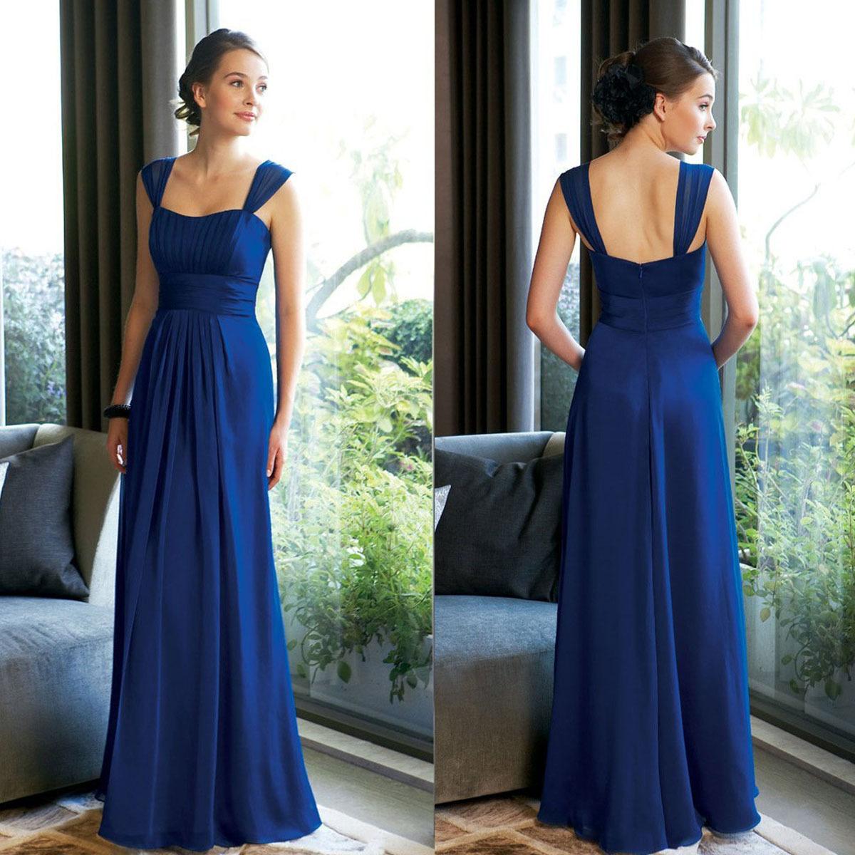 2015 Cheap Long Royal Blue Bridesmaid Dresses Plus Size