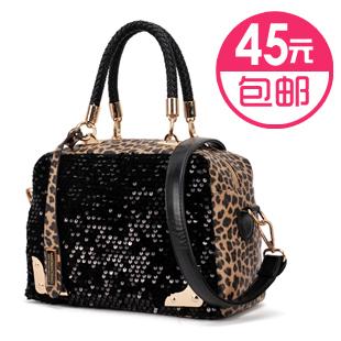 2013 women's spring casual handbag leopard print paillette bag shoulder bag handbag messenger bag women's handbag