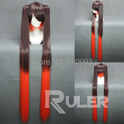WQ &Wholesale&>>120cmX Long Vocaloid Color Mixed Anime Cosplay wig+ 2 Clip On PonytailS COS