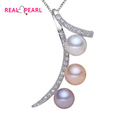 REAL PEARL 925 Sterling Silver Fashion Freshwater Pearl Pendant with Necklace Chain Unique Designed Hot Gift(China (Mainland))
