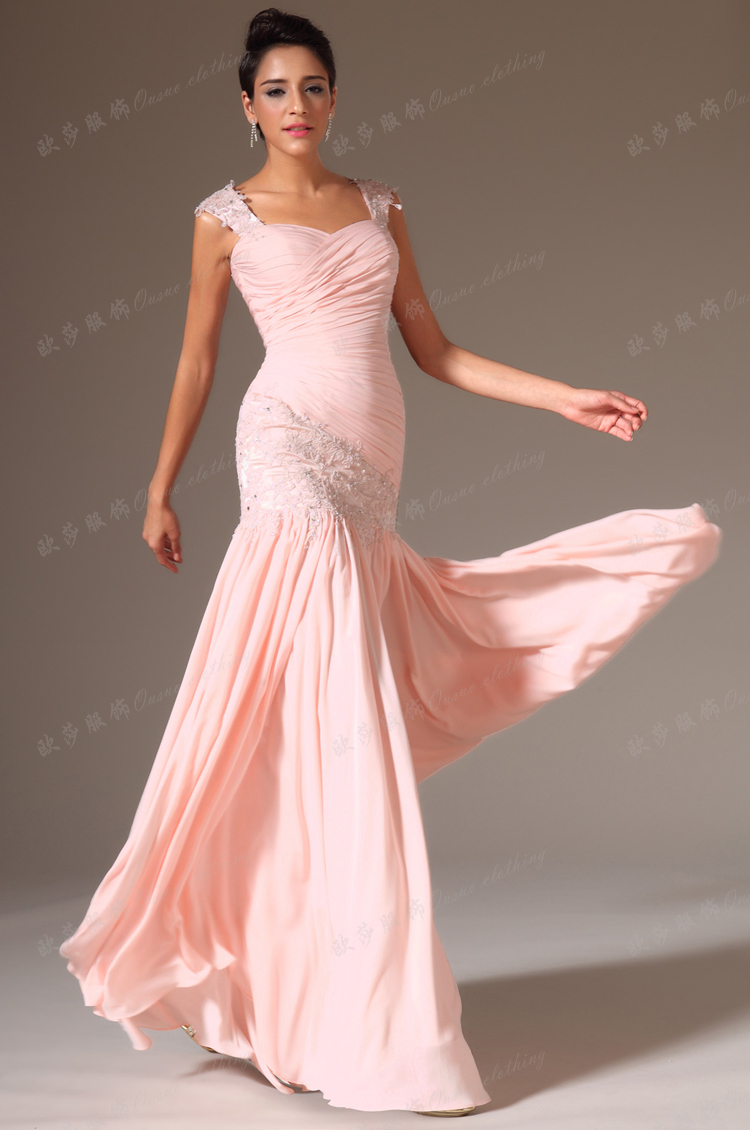 Pink mermaid evening gowns with straps long chiffon formal for Formal dress for women wedding