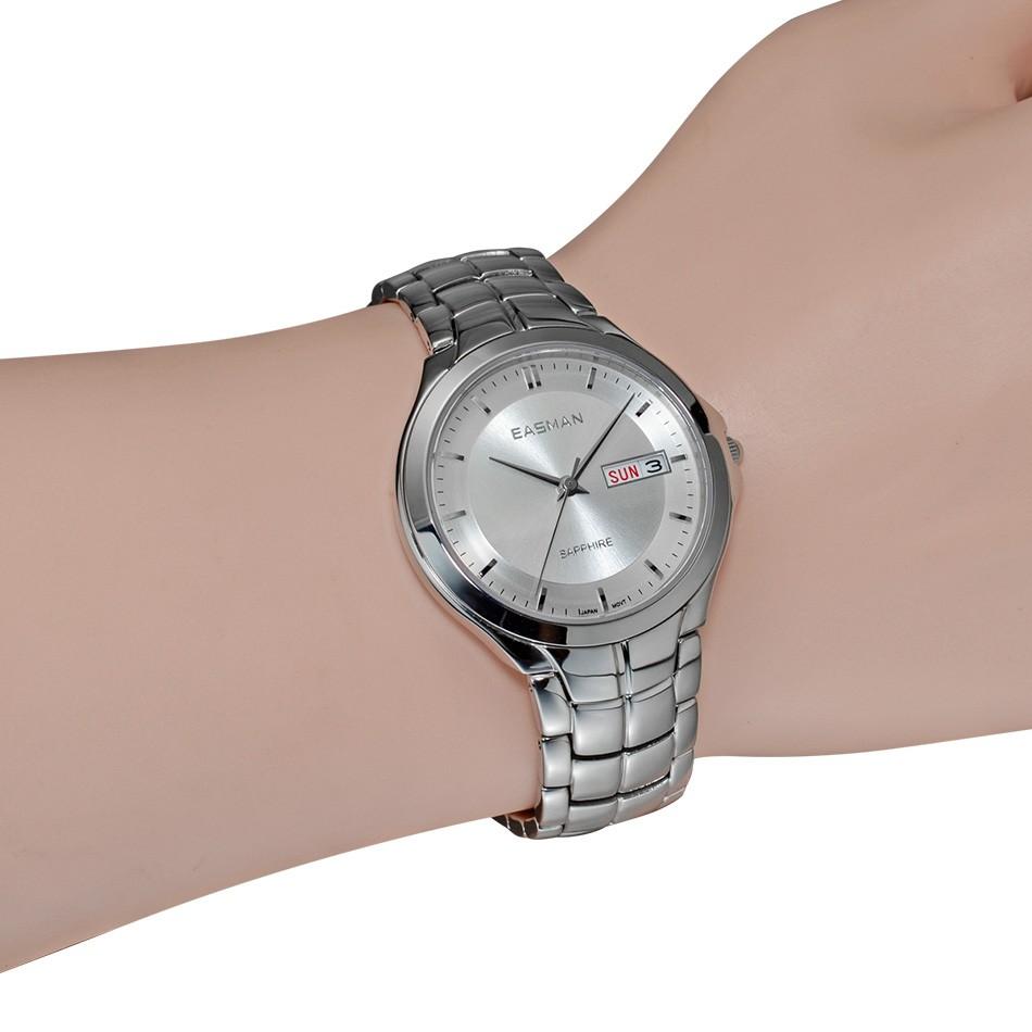 Easman мужские дата день календарь показать сапфир воды круто-устойчивых нержавеющей стали наручные кварцевые часы для мужчин подарок