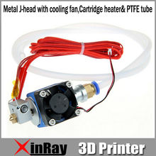 Free Shipping Hot Selling Metal J-head with cooling fan,Cartridge heater& PTFE tube 3d Printer Accessories GT039