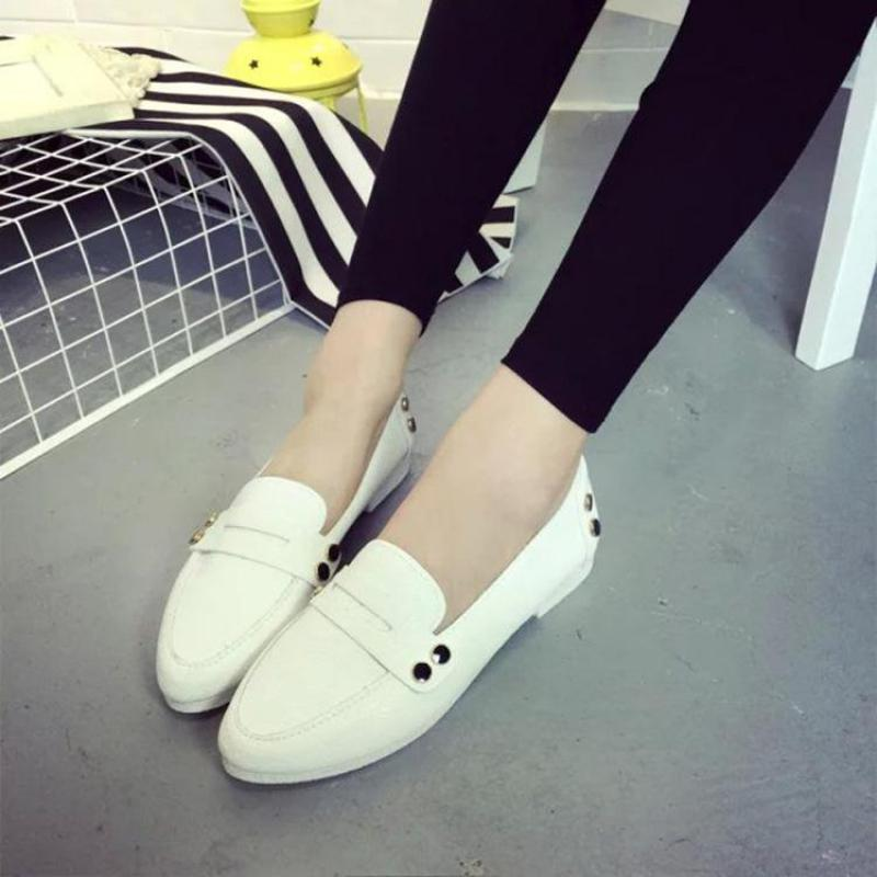 Black White Comfort Sweet Flats Women Shoes Soft Leather Driving Dress Zapatos Mujer Pointed Toe Women Shoes Footwear(China (Mainland))