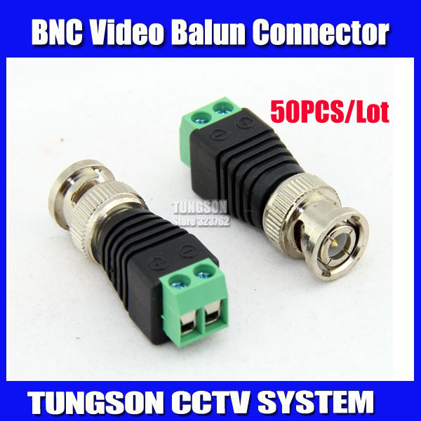50Pcs/lot Mini Coax CAT5 To Camera CCTV BNC UTP Video Balun Connector Adapter BNC Plug For CCTV System. Free Shipping !!(China (Mainland))