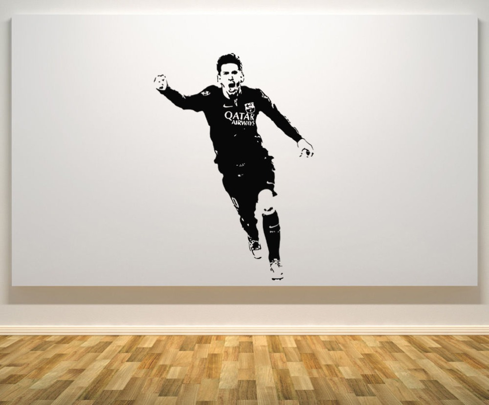 Wall Decal Lionel Messi Barcelona Argentina Football Player Star Decal Wall Art Sticker Paper Removable Room Wall Decor WW-30(China (Mainland))