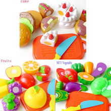 3sets/lot Cutting Plastic Children Kids Fruits Vegetable Cake Slice and See Baby Classic Toy, Kitchen Food Pretend Play House(China (Mainland))