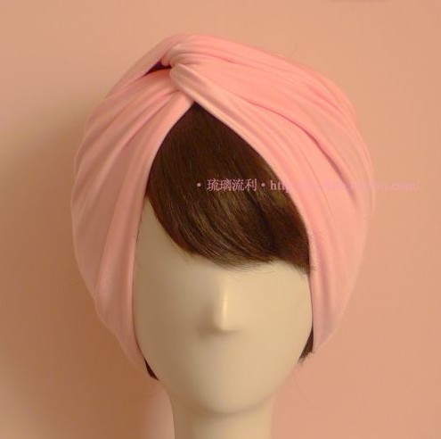 Europe Fashion Trend Women Classic Vintage Elastic Silk Headbands Wide Style Pink Muslim Turban Bandanas wholesale(China (Mainland))