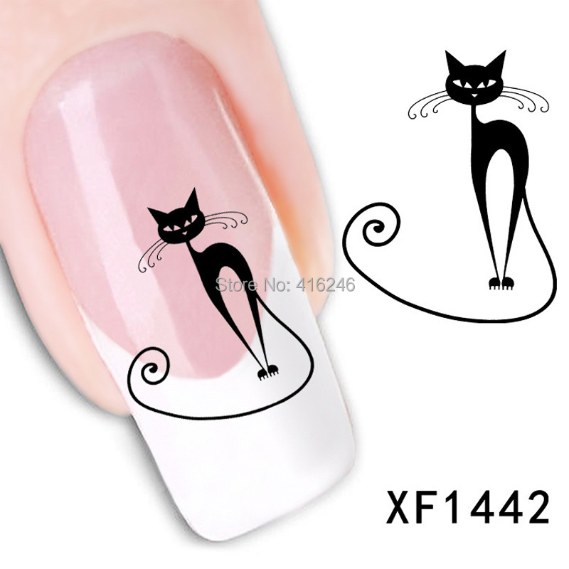 1New Cute Black Cat Nail Sticker Nails Art Water Decals Transfer Slide Manicure Tips DIY Rhinestone Decoration - Wellcome sotre store