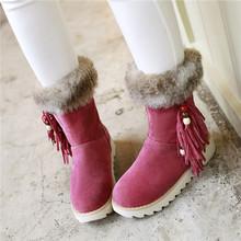 Corea del dulce mujer Faux Suede Beads la borla botas planas de punta redonda plataforma 2015 la nieve del invierno caliente patea los zapatos más el tamaño(China (Mainland))