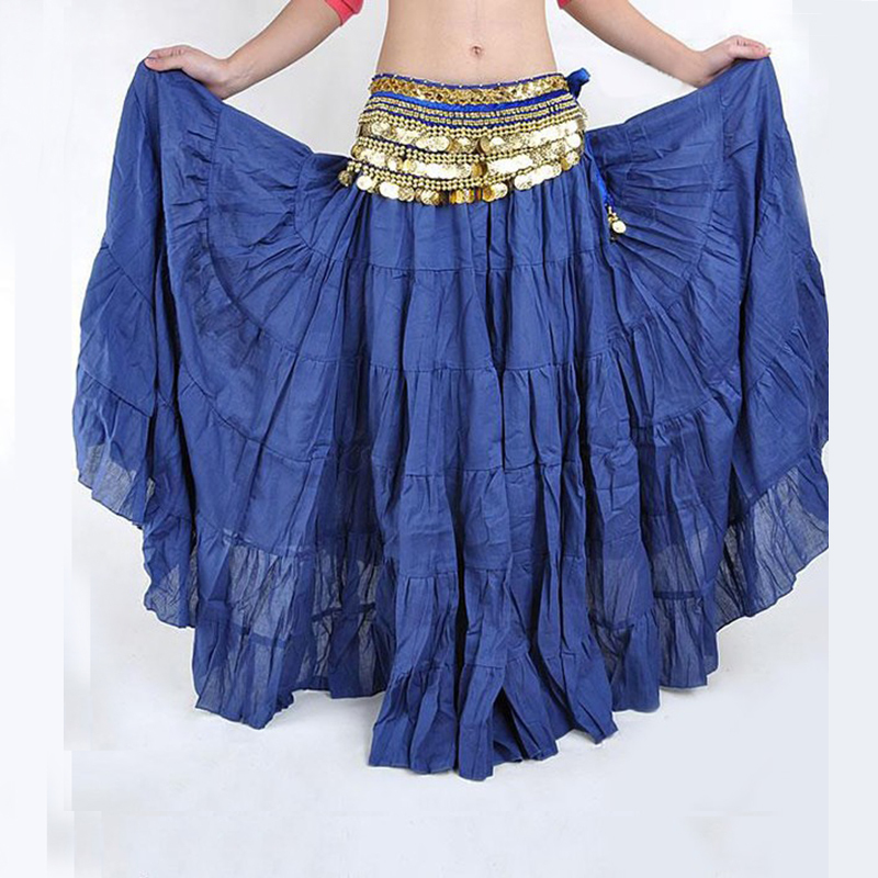 2016 Ethnic Bohemia Sequin Bow Strappy Long Skirt Big Swing Belly Dance Ballroom Costumes Full Circle Women Dress Skirts Faldas - Biovan_china's store