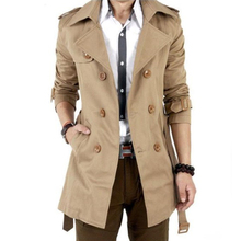 Free Shipping 2015 Autumn Hot-selling Trench Men Double Breasted Trench Men's Outerwear Casual Coat Men's Jackets(China (Mainland))