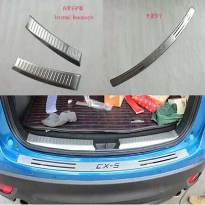 For Car Styling Mazda Cx-5 Automobile RearGuards Stainless Steel Rear Bumper Protector Car Stickers Accessories 3pcs(China (Mainland))