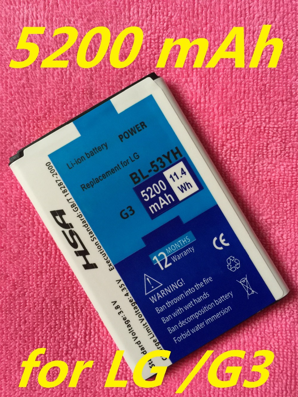 Free shipping 3.8V 5200mAh replacement BL-53YH Battery For LG G3 D858 D855 D857 D859 D850 F400 F460 F470 D830 D851 VS985 Phone(China (Mainland))